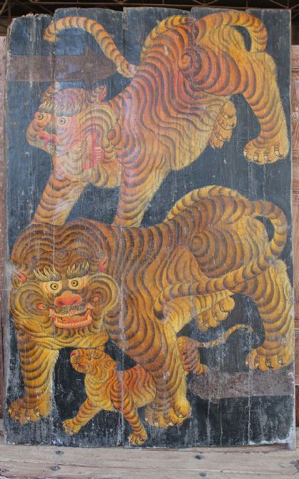 Tibetan Tiger Door with Leopards & Cub - <b>SOLD<b>